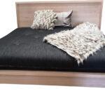 Windsor Bed Base, Hardwood, Natural Raw Timber Finish, Front